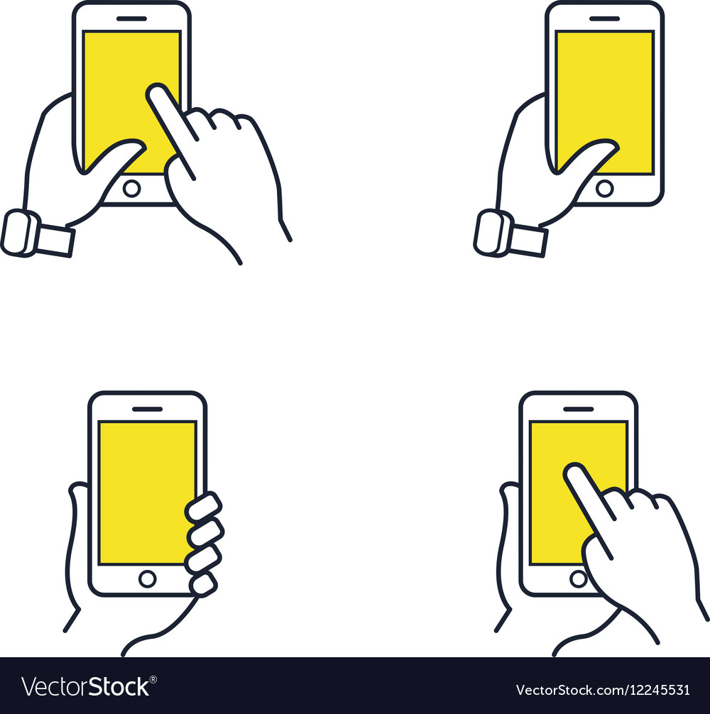Hands holding smartphone Flat line icon