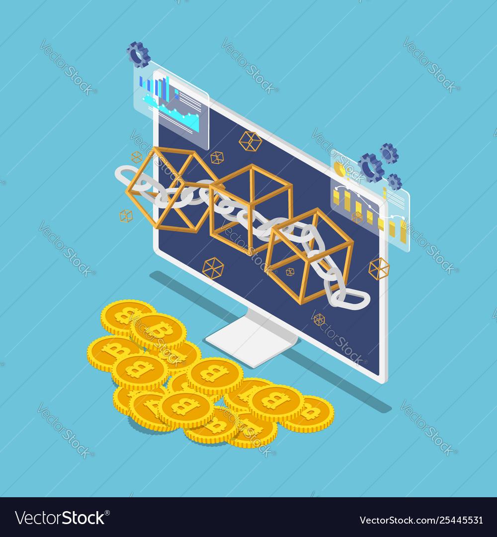 Isometric blockchain symbol on monitor and bitcoin