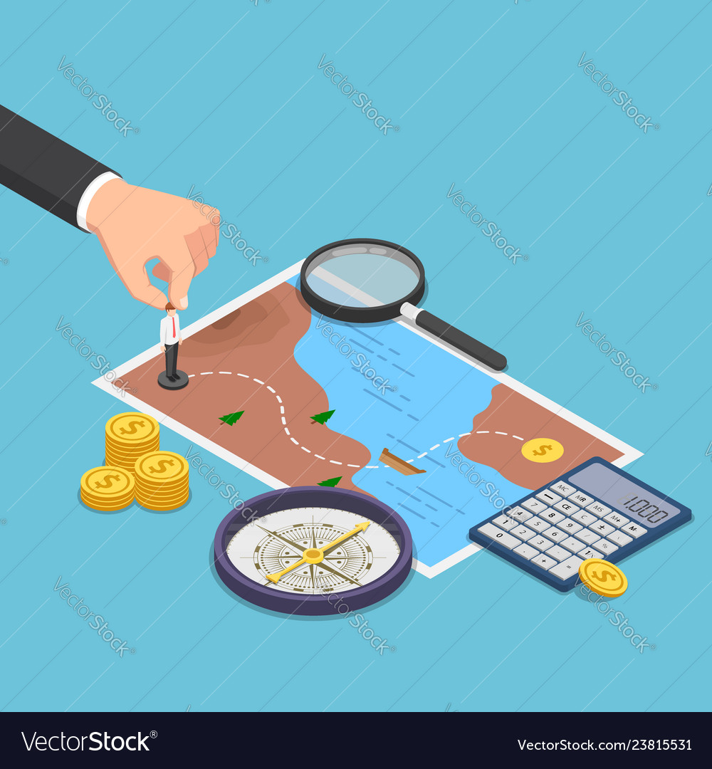 Isometric businessman planning the way to success