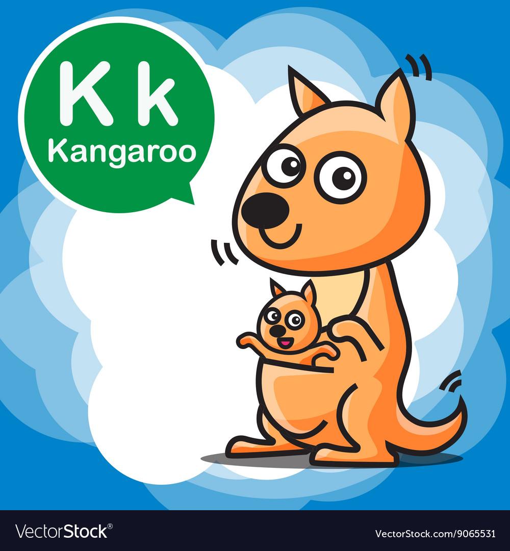K Kangaroo color cartoon and alphabet for children