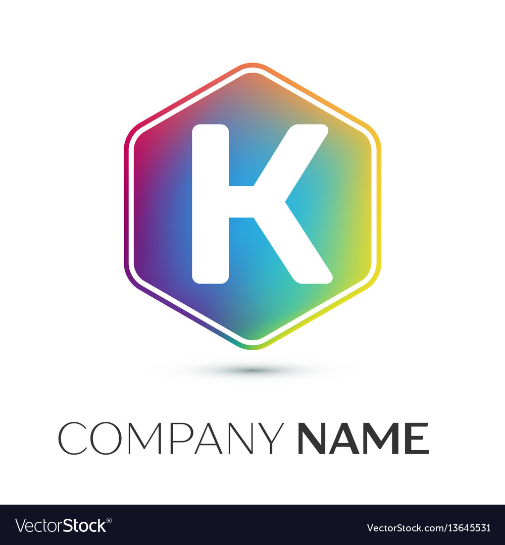 Letter k logo symbol in the colorful hexagonal on