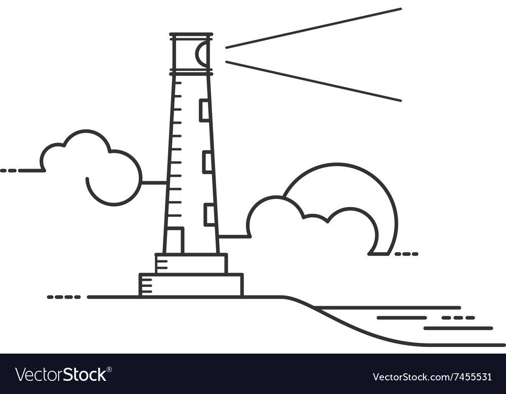 lighthouse line art style royalty free vector image rh vectorstock com Lighthouse Silhouette Clip Art Lighthouse Outline