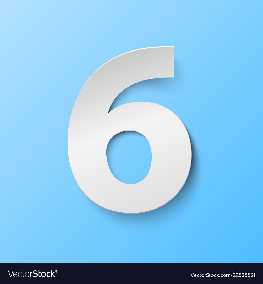 Number 6 cut paper