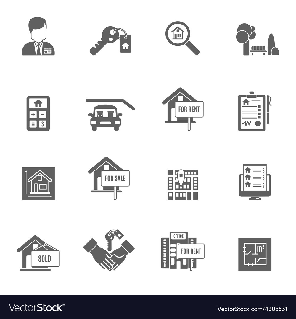 Real Estate Black Set vector image