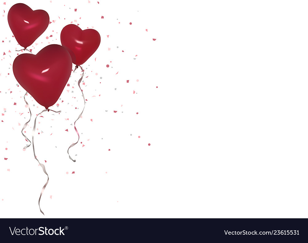 Red valentine party balloons background