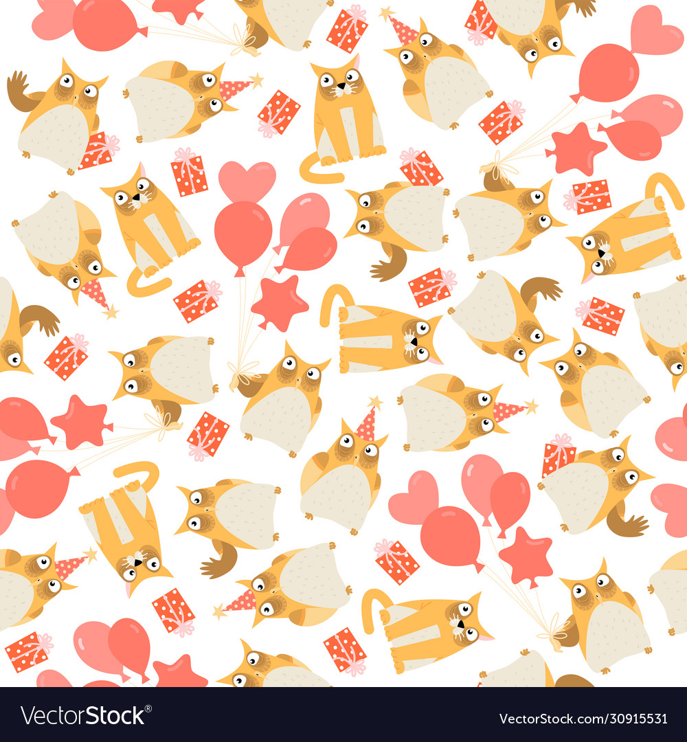 Seamless birthday pattern with owls and cat