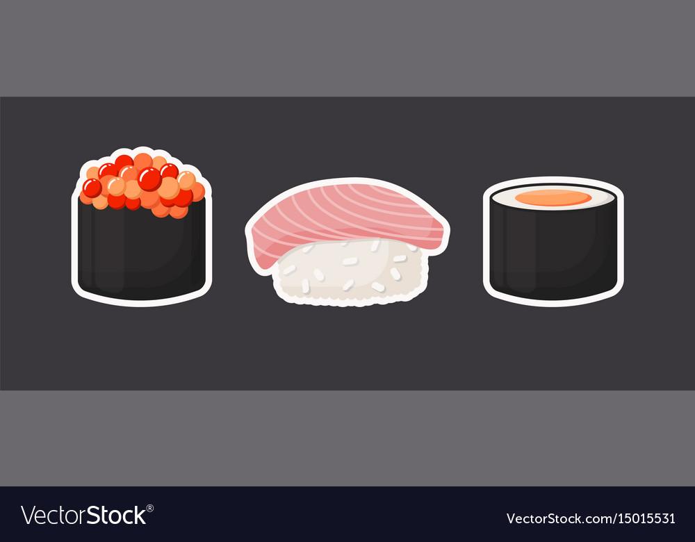 Sushi icons flat set vector image