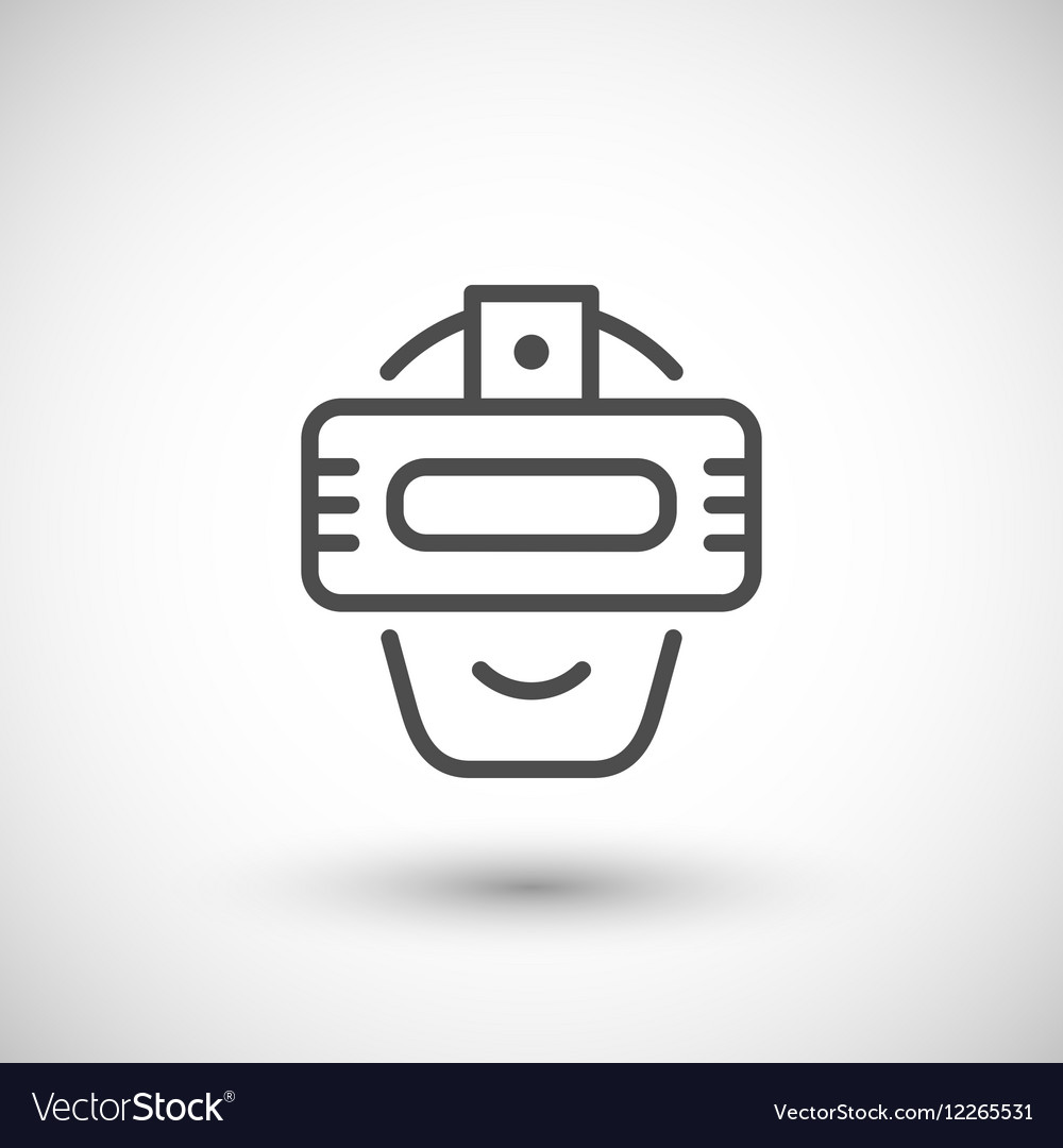 Virtual reality helmet line icon