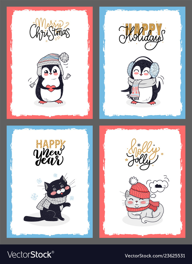 Winter animals in warm cloth christmas cards