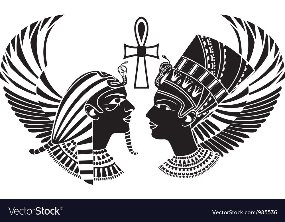Ancient Egypt King And Qeen With Wings Royalty Free Vector