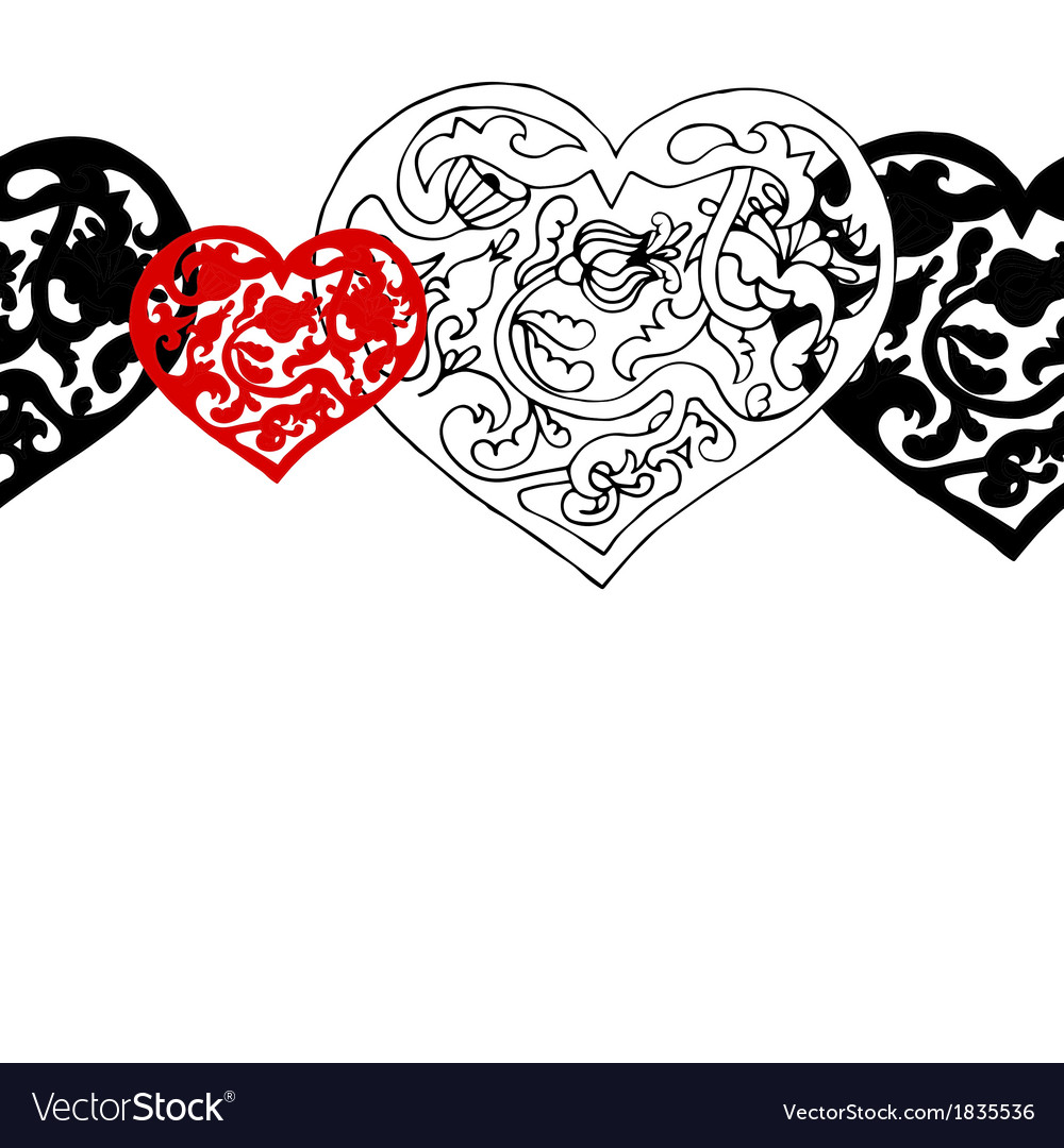 Black and white ornamental hearts border pattern vector image