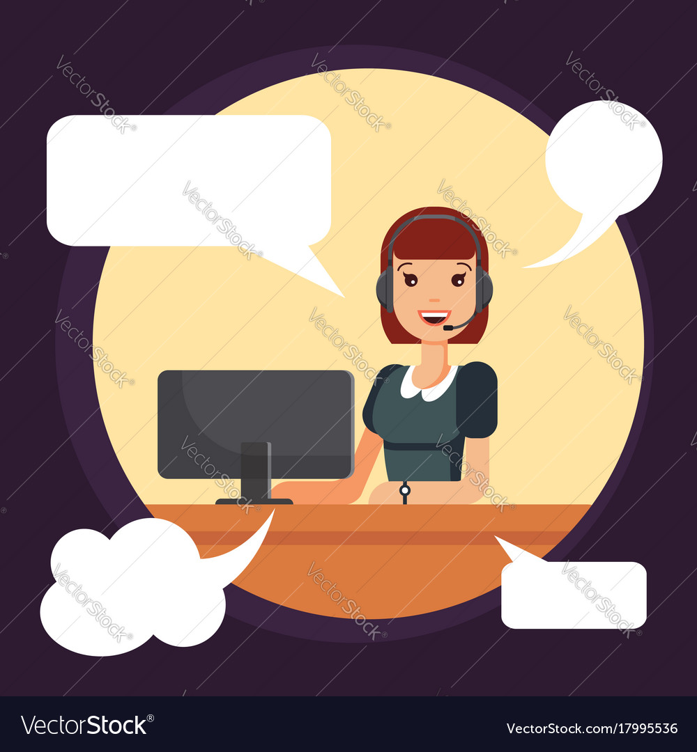 Call center smiling woman worker by computer