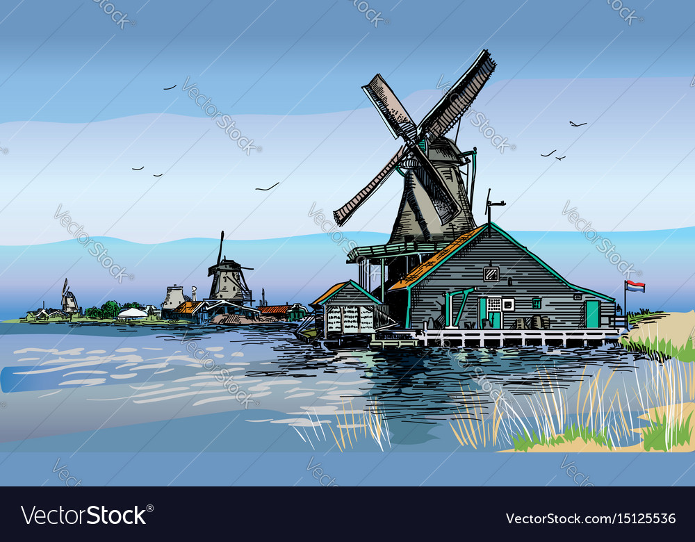 Colored of watermill in amsterdam