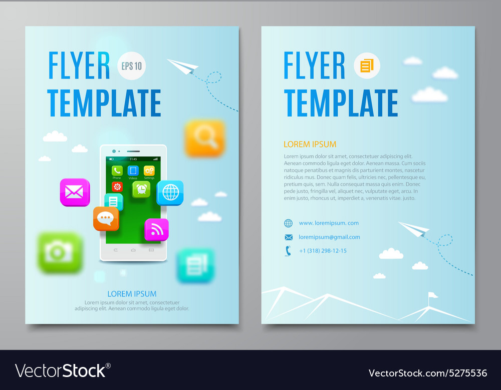 Design layout flyer White smartphone with cloud vector image