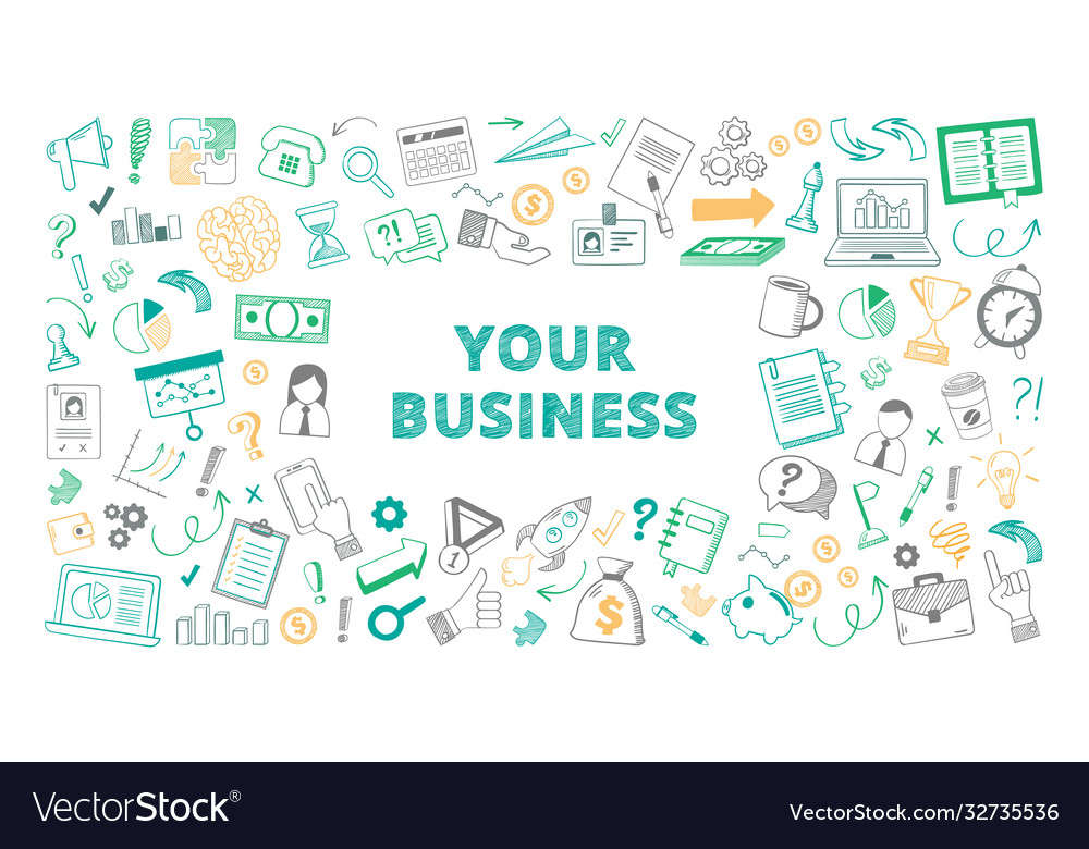 Handdrawn your business sketch color set