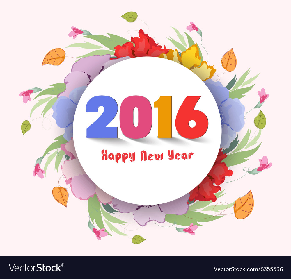 happy new year 2016 watercolor flower background vector image