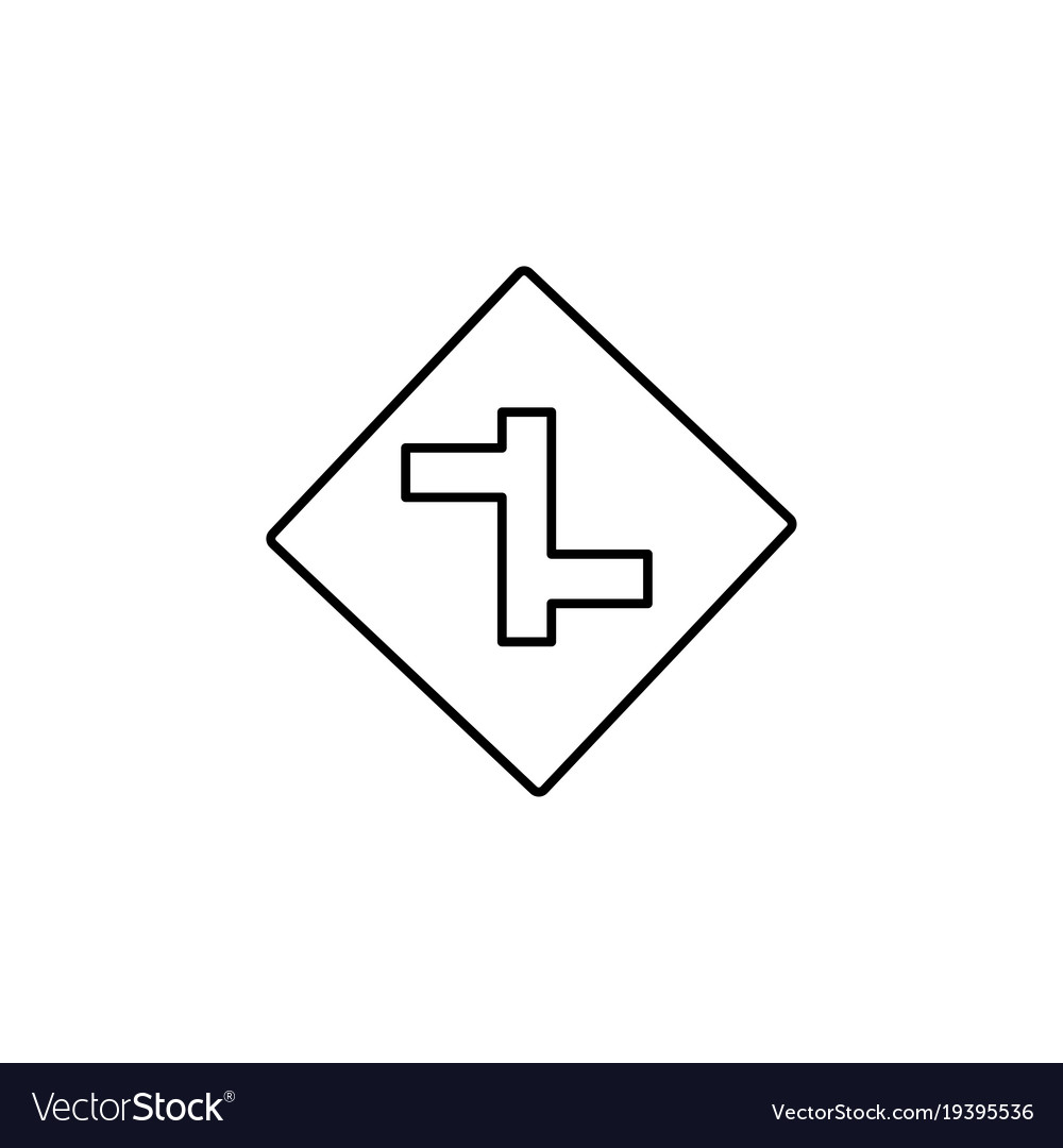 Intersection road sign icon vector image