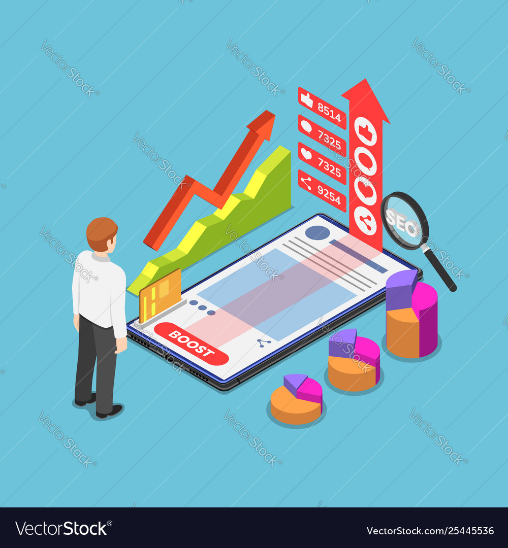 Isometric businessman boost his content by