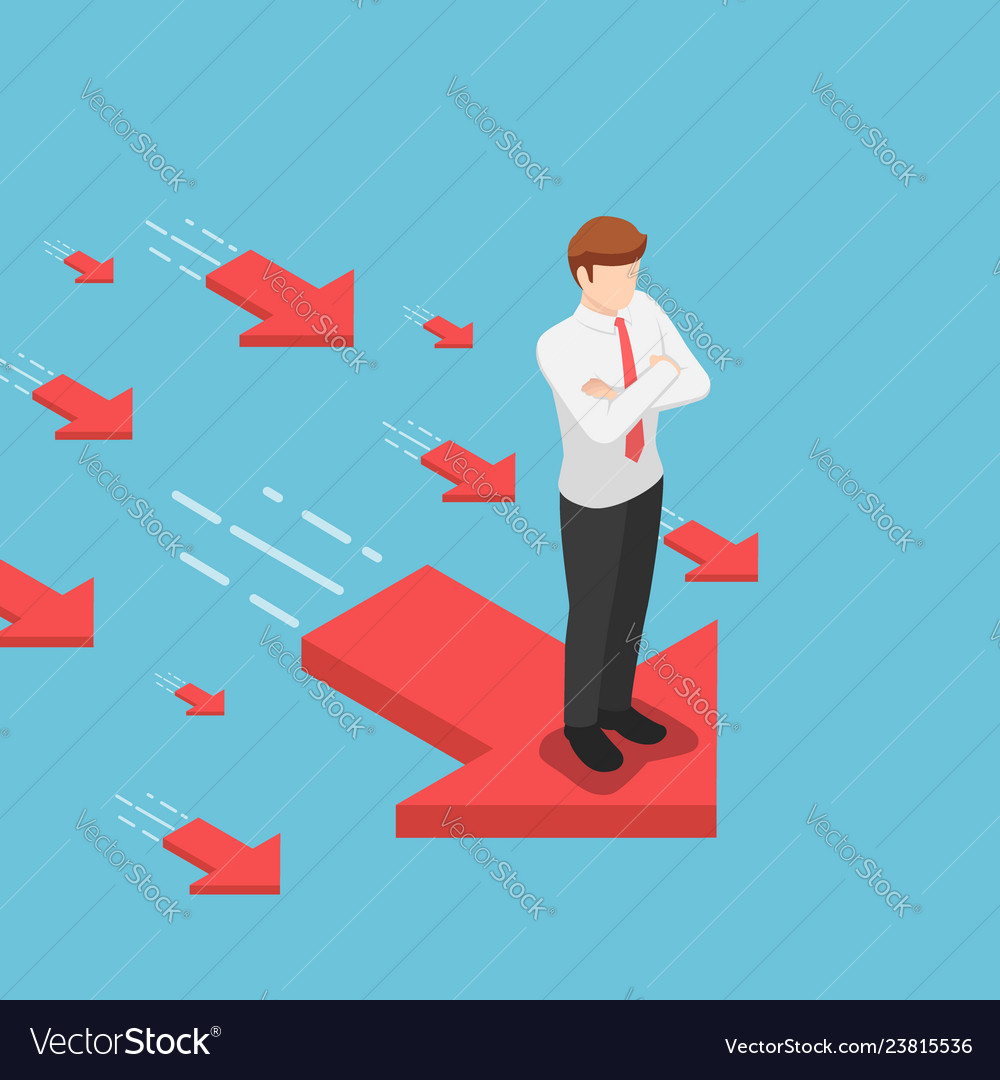 Isometric businessman standing on red arrow with