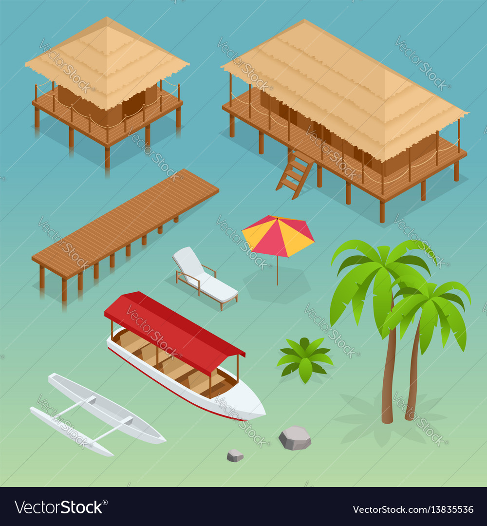 Luxury overwater thatched roof bungalow bridge