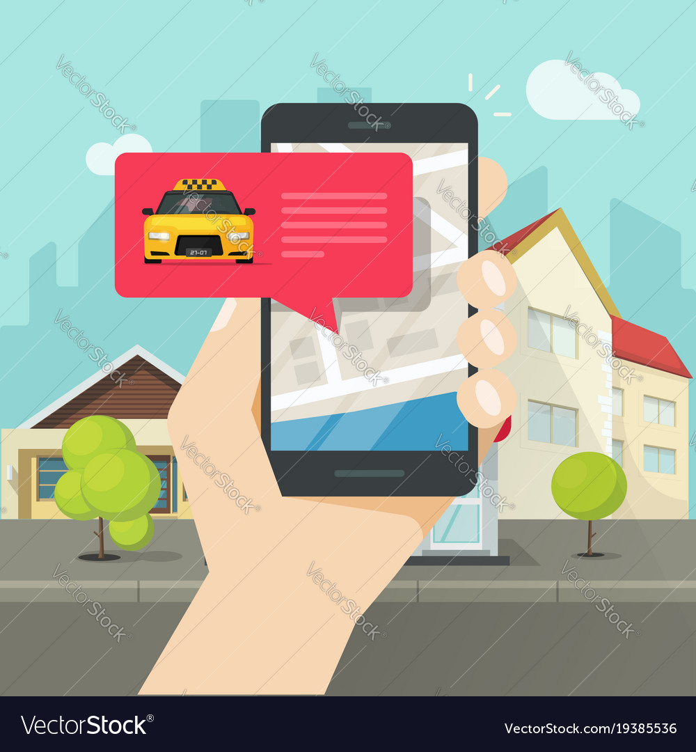 Online taxi on mobile phone and city