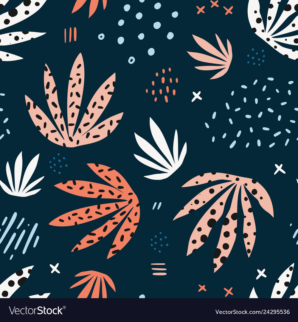 Plants leaves hand drawn seamless pattern