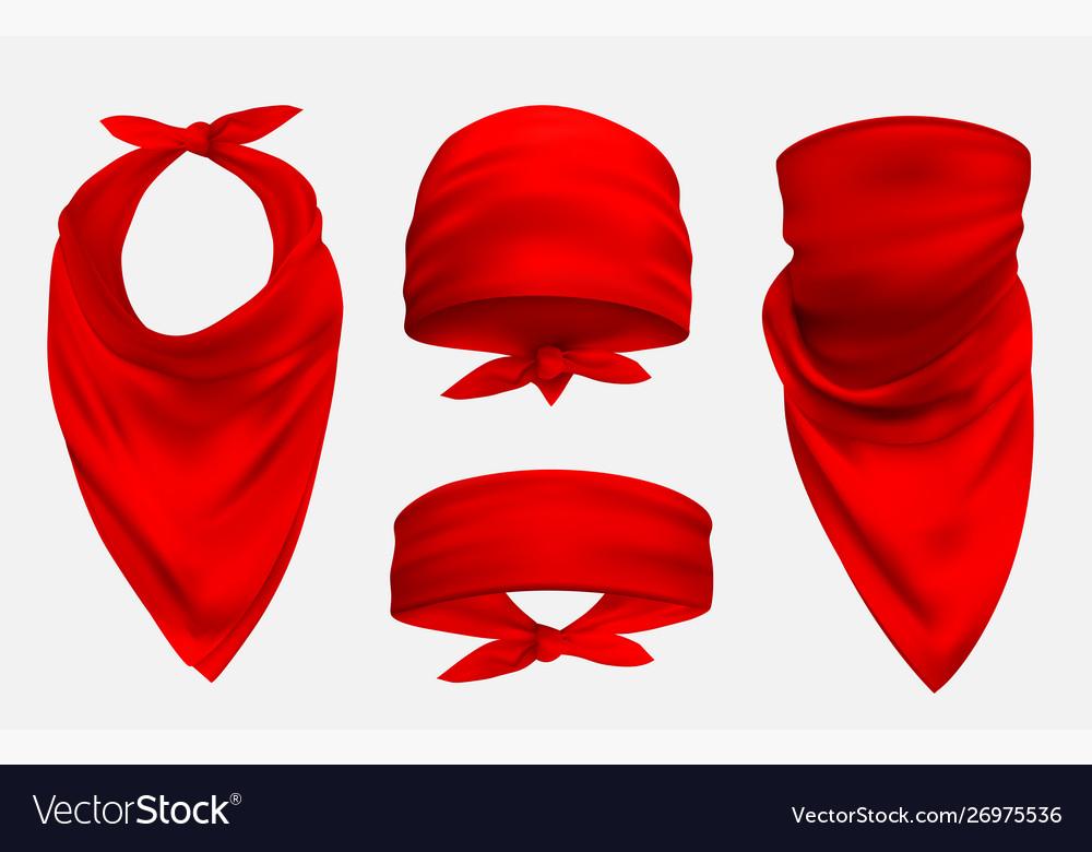 Red bandana realistic 3d accessory