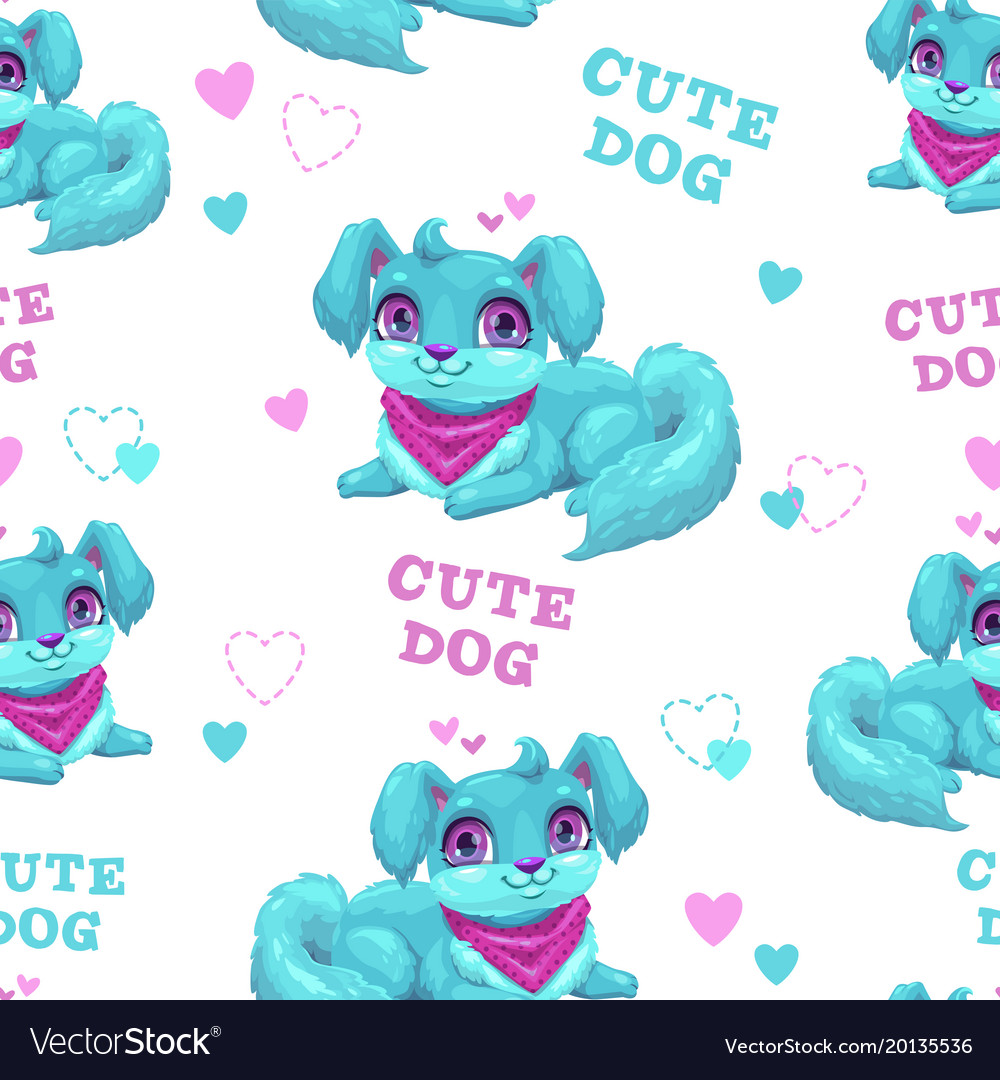 Seamless pattern with cute cartoon fluffy puppy