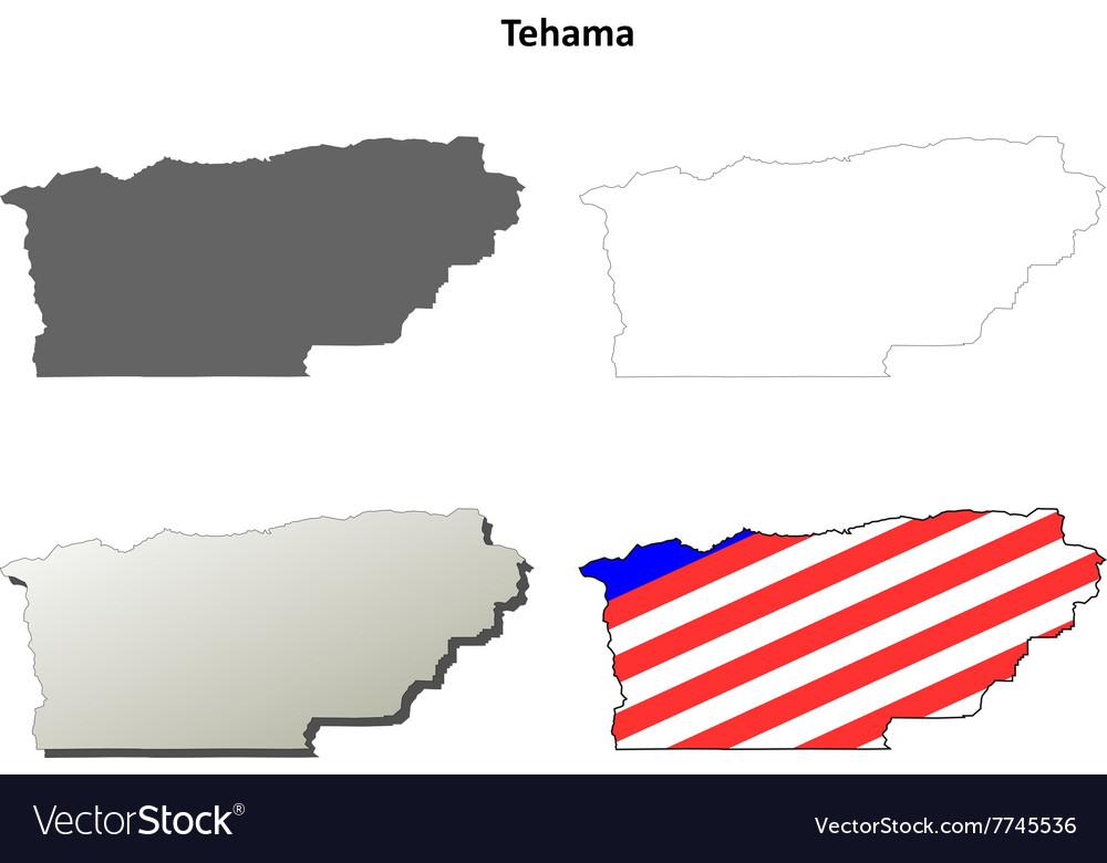 Tehama County California Outline Map Set Vector Image