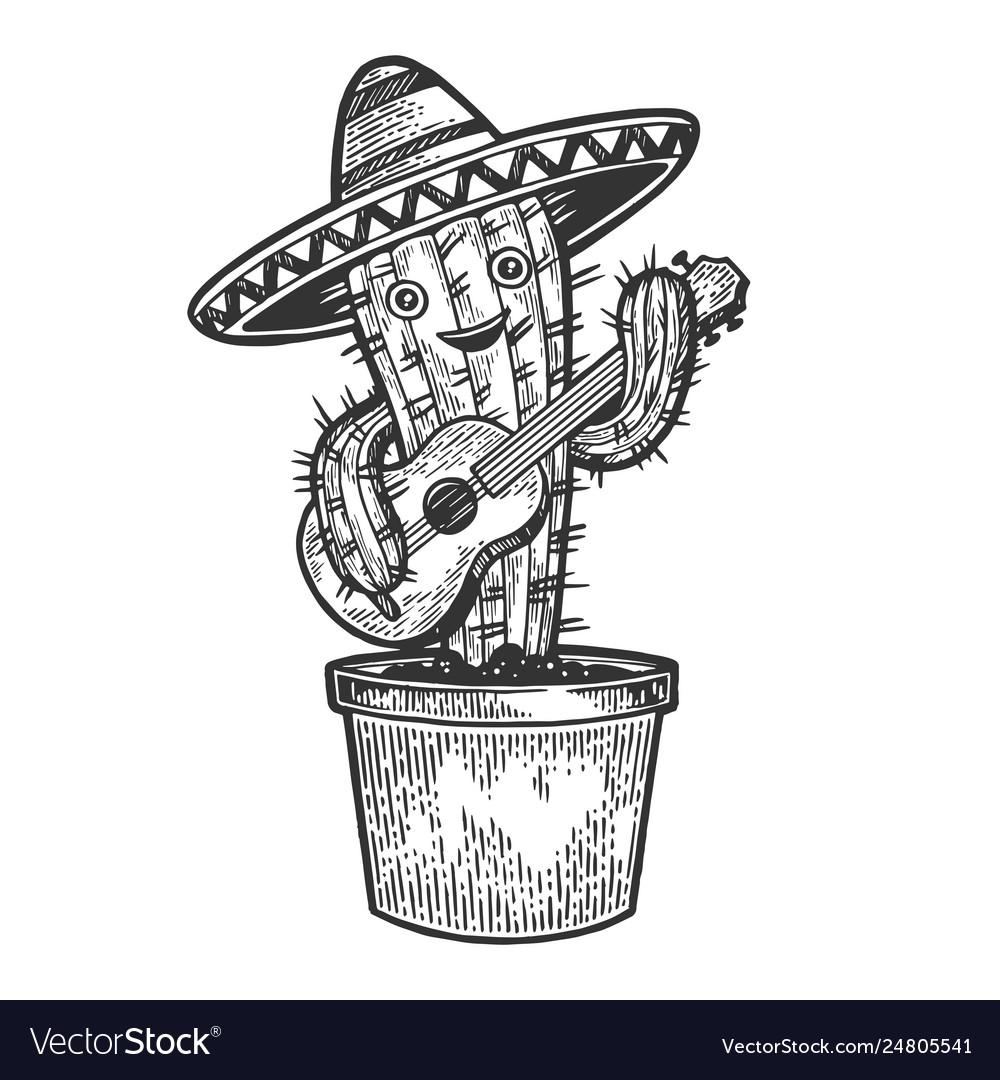 Cactus guitar and sombrero sketch engraving