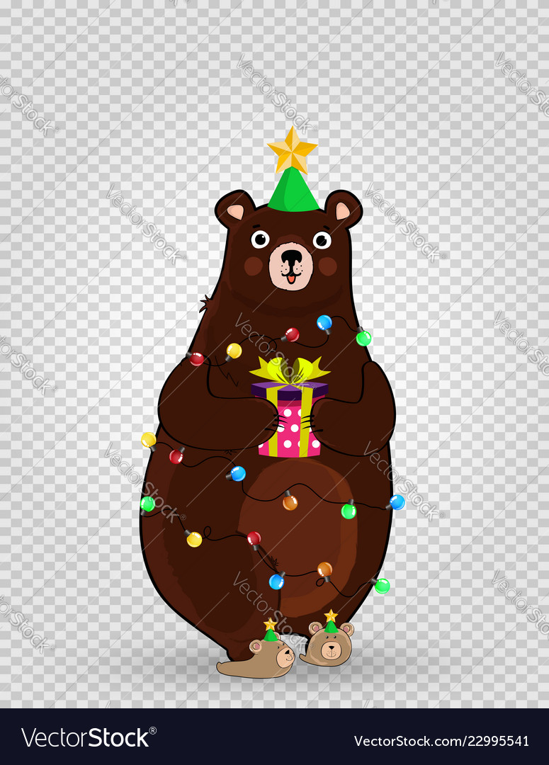Cartoon bear in funny hat and garland holding