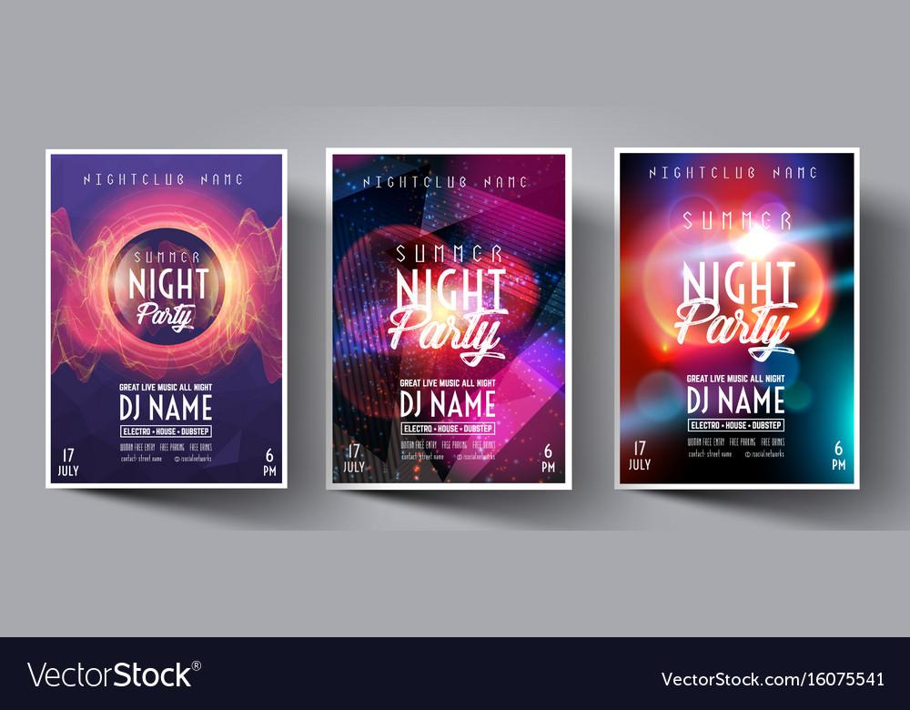 Dance club night summer party flyer brochure