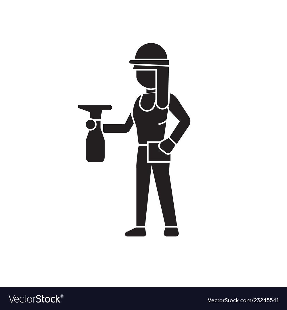 Girl with a sprayer black concept icon