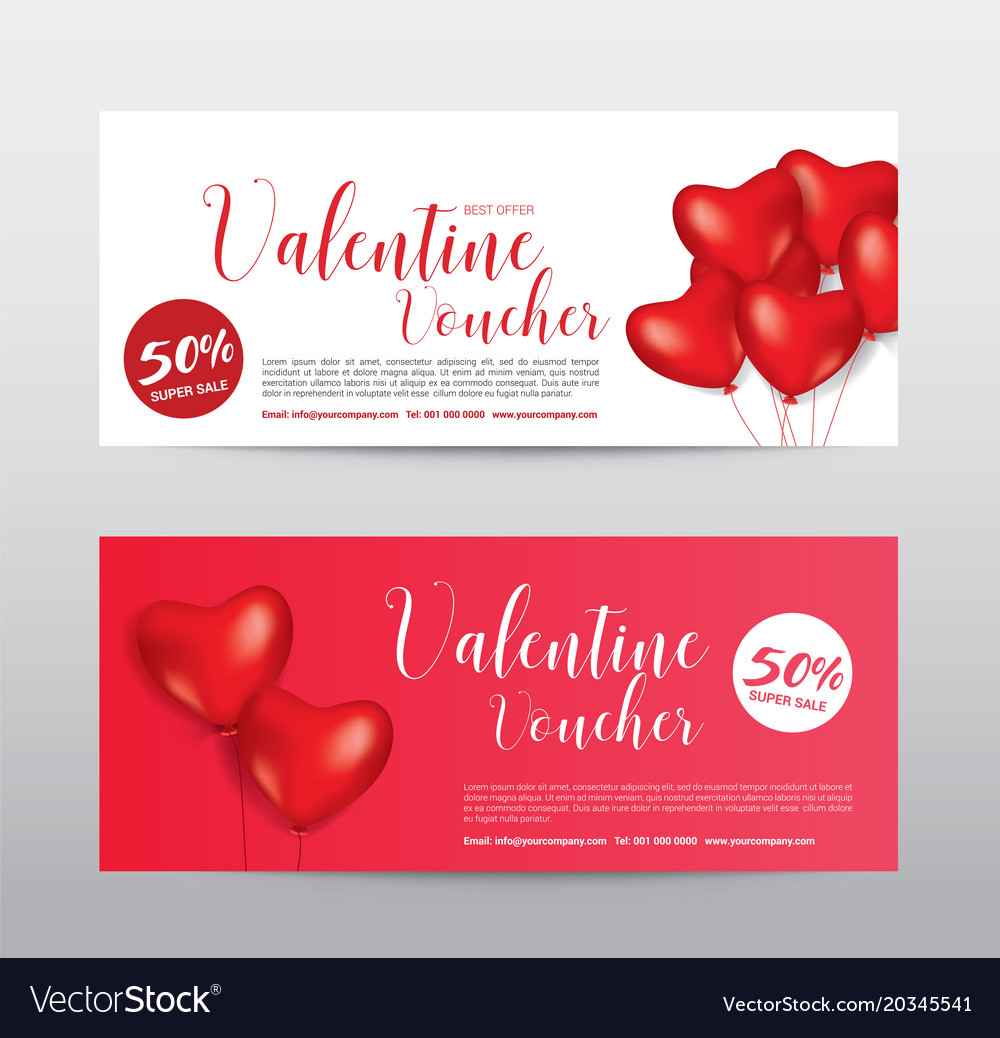 Happy Valentine Day Gift Voucher Coupon Banner Vector Image