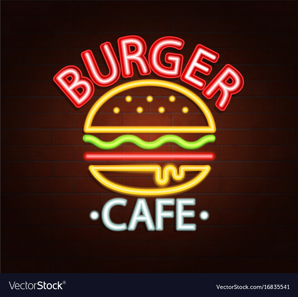 Neon sign of burger cafe