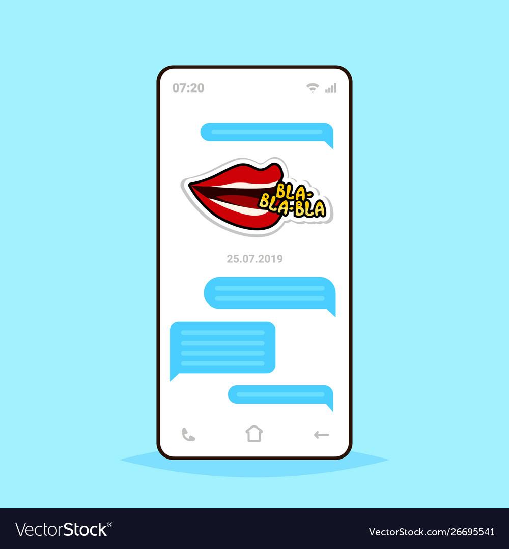Online conversation mobile chat app sending