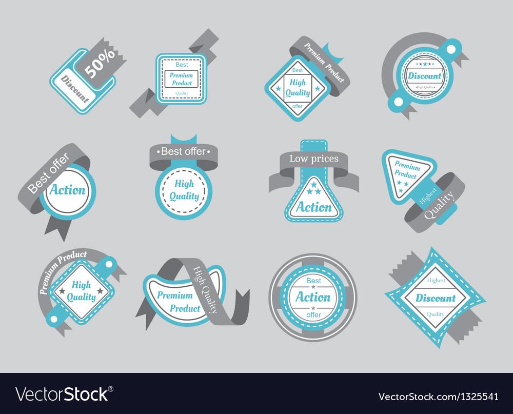 Set of cyan seals with gray ribbons vector image