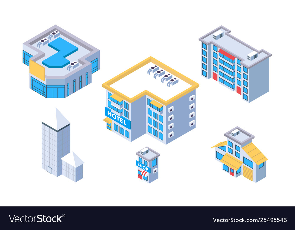 3d isometric set city building with hotel and shop