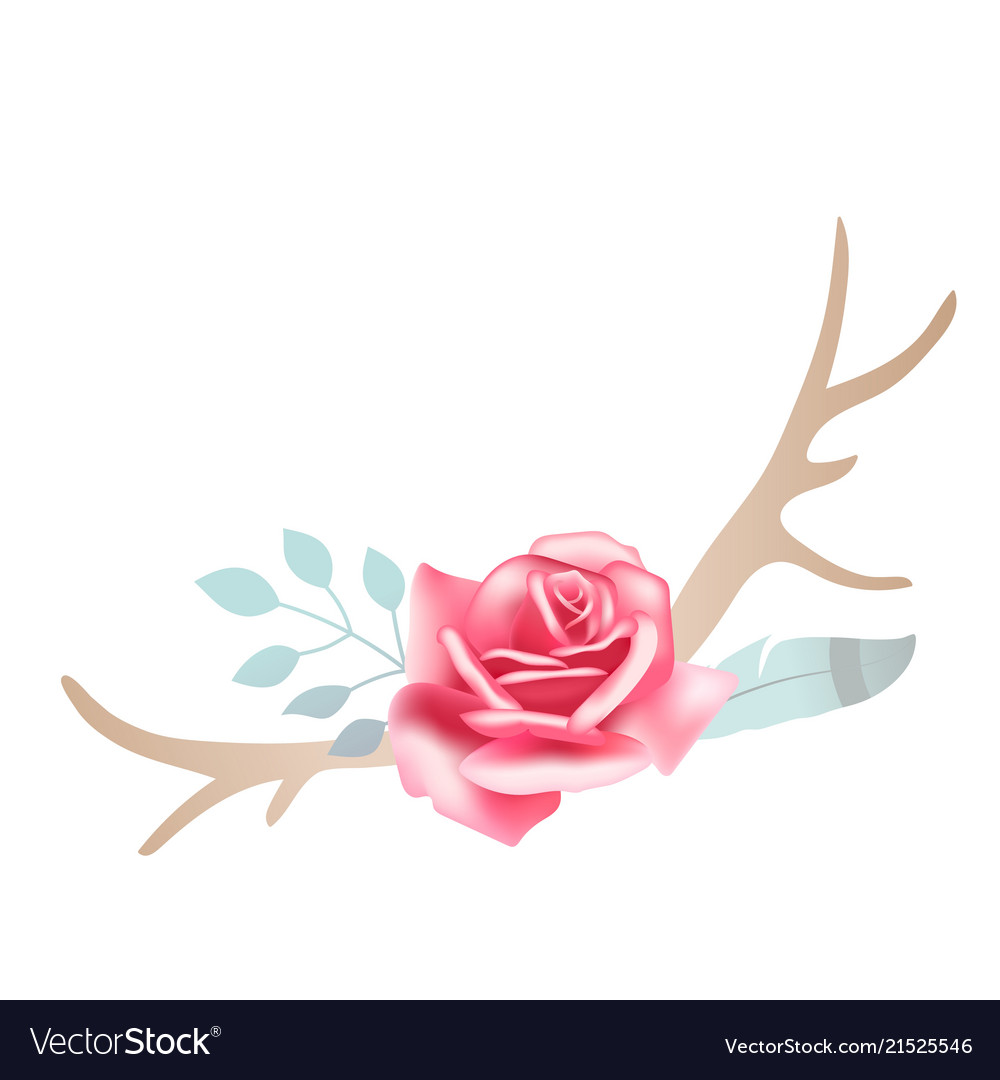 Boho styled beautiful pink rose with deer antlers