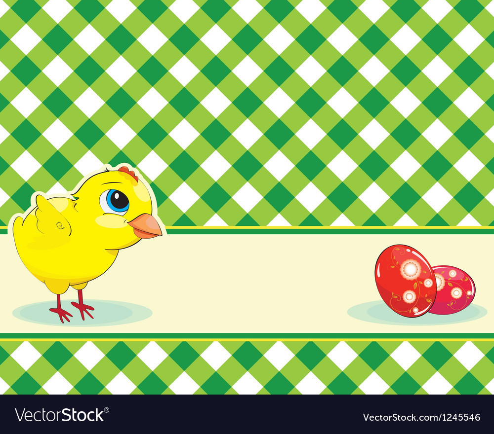 Checkered background with chicken and easter eggs vector image