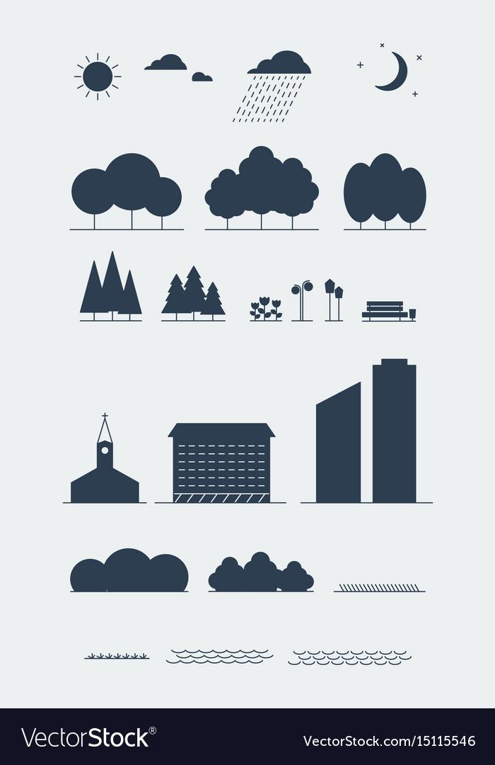 City landscape elements silhouette style