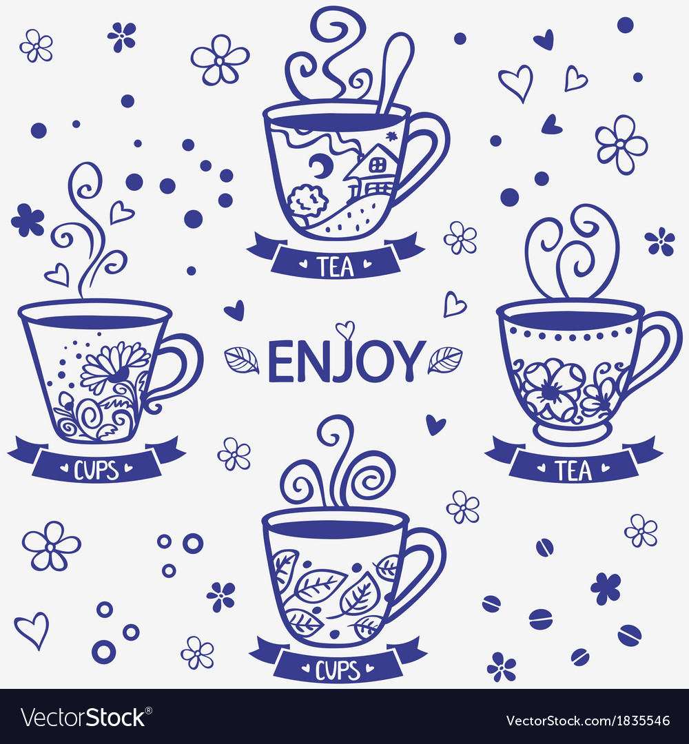 Cups silhouette vector image