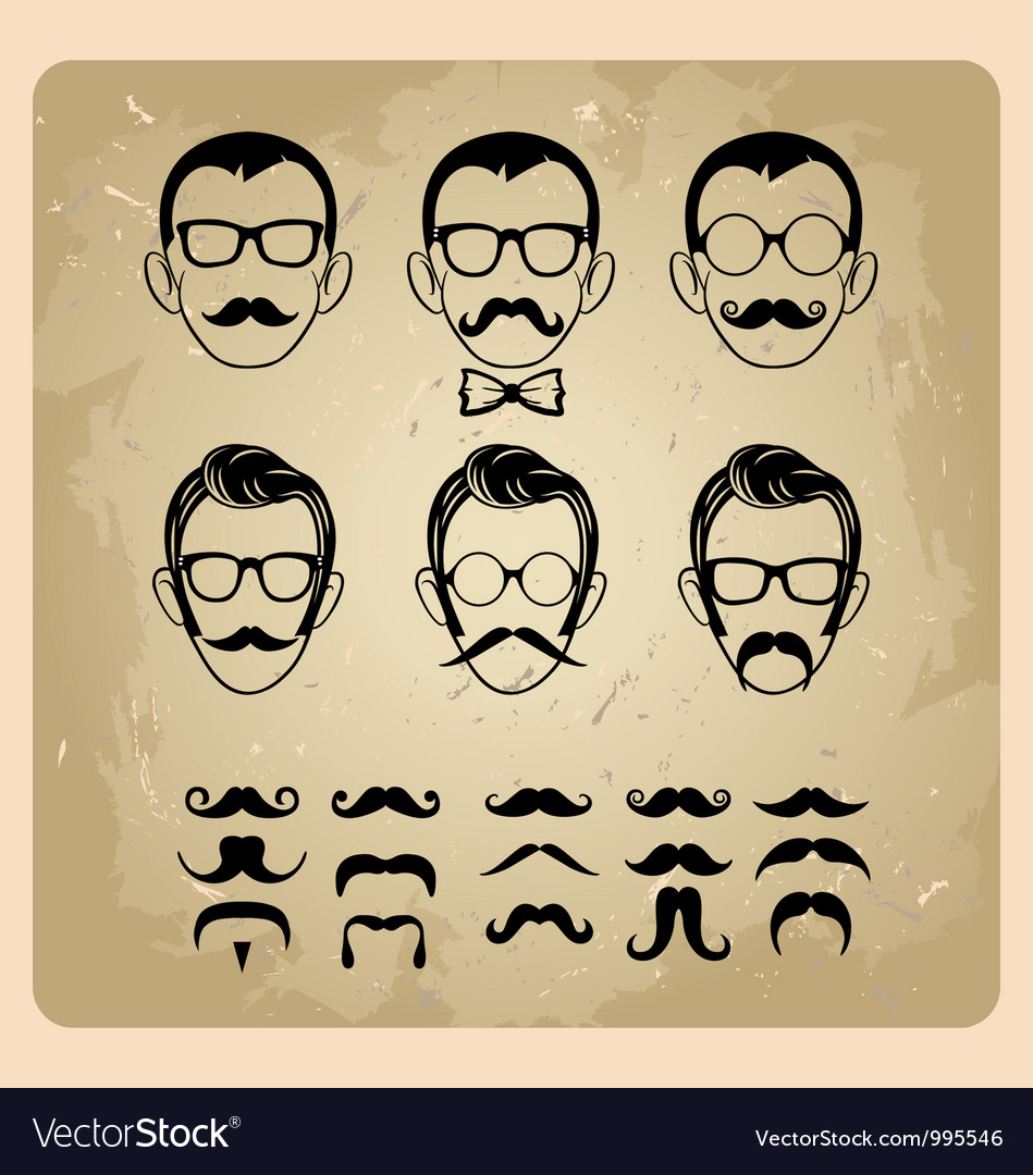 Faces with Mustaches sunglasseseyeglasses and a