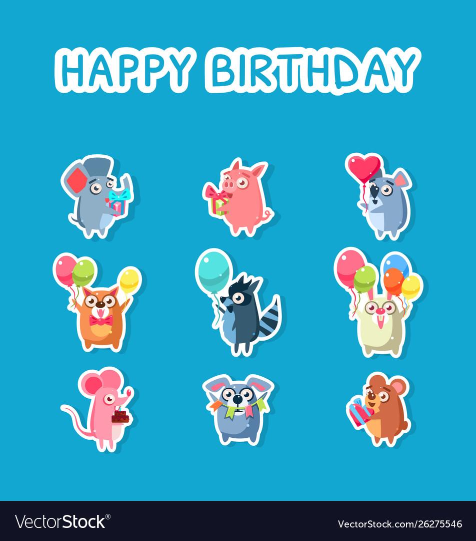 Happy birthday set cute funny animals stickers