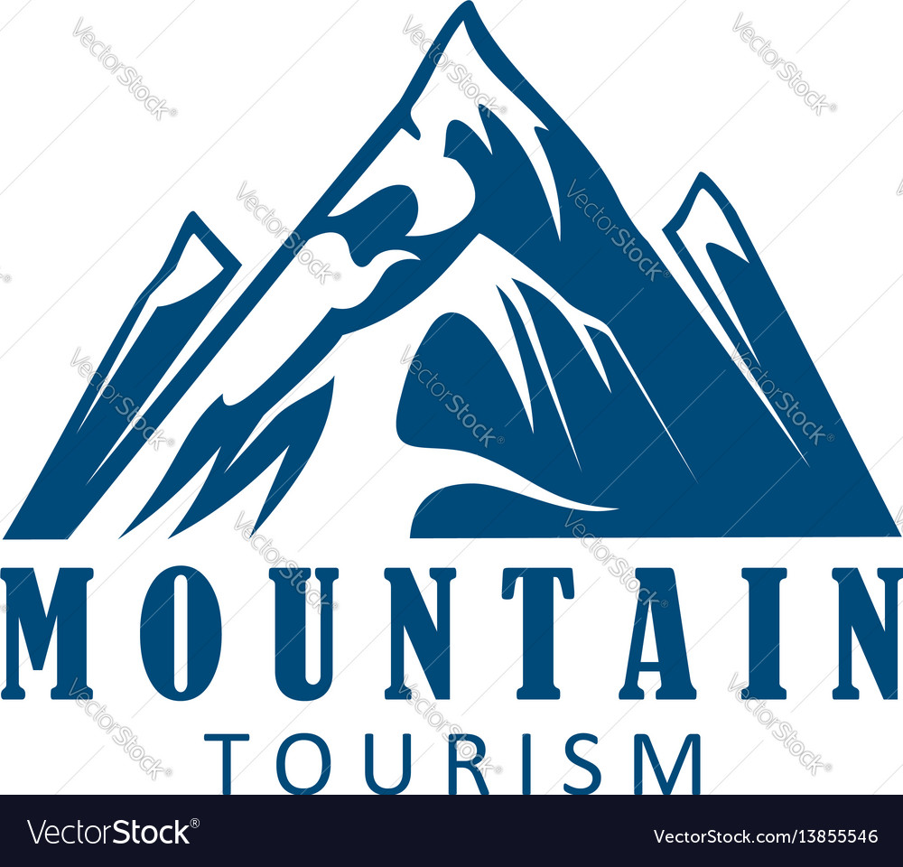 Mountain tourism and climbing sport icon design
