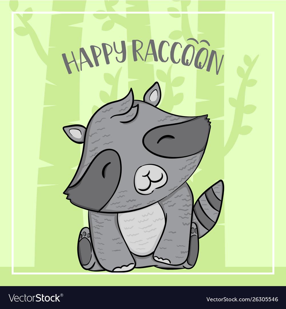Raccoon cartoon animal autumn with trees and