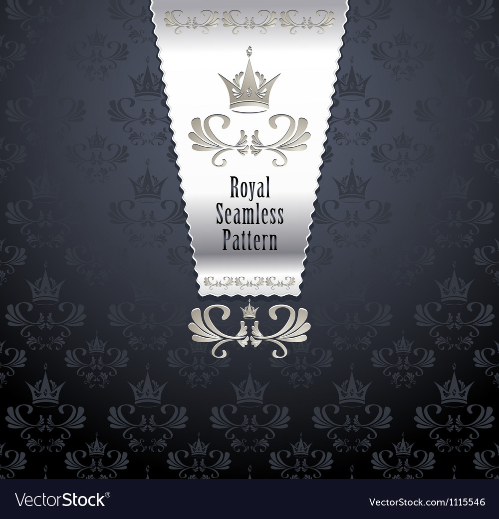 Royal seamless pattern with crown vector image