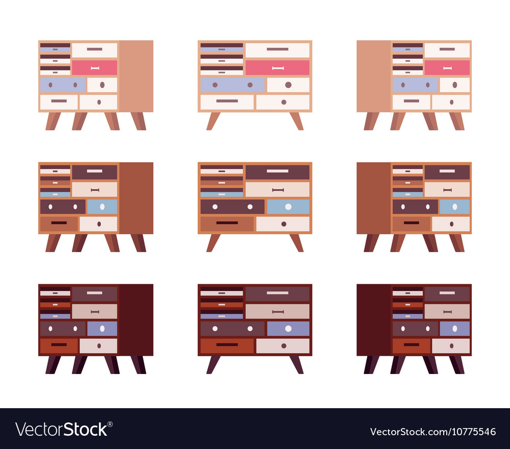 Set of high retro sideboards with drawers and