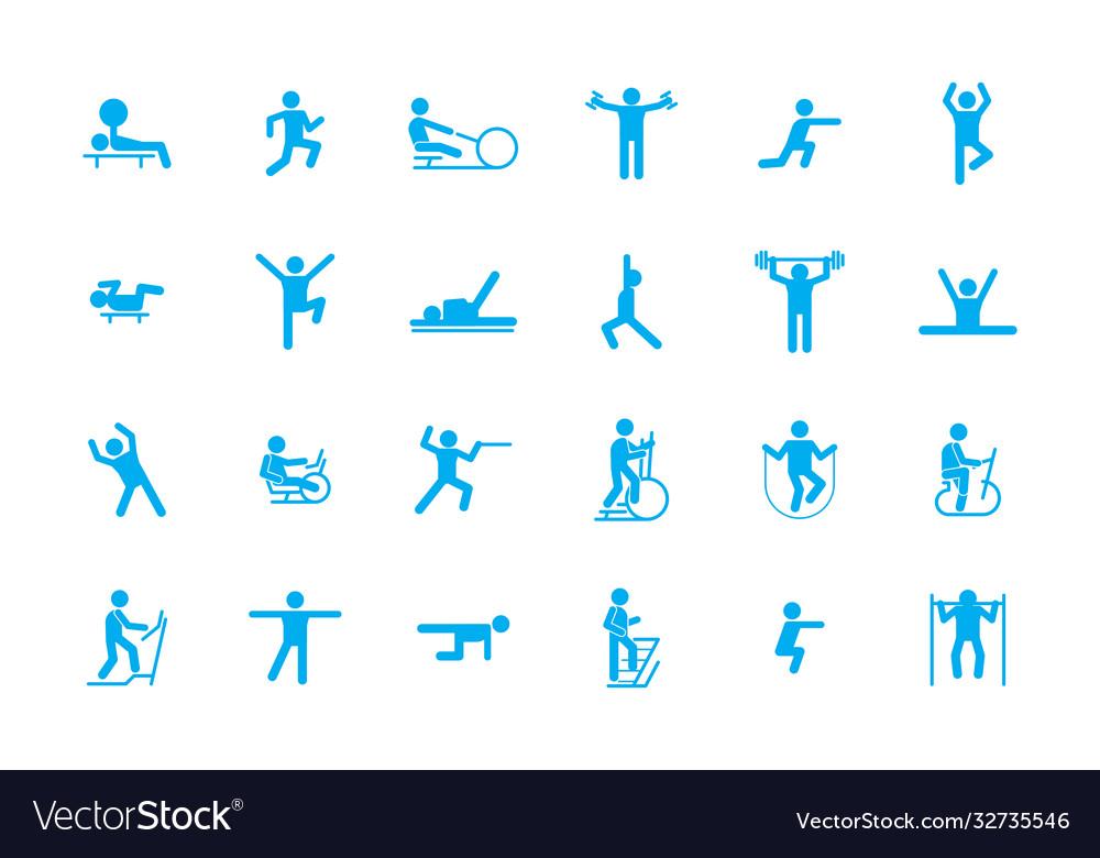 Sports fitness workout icons large set training