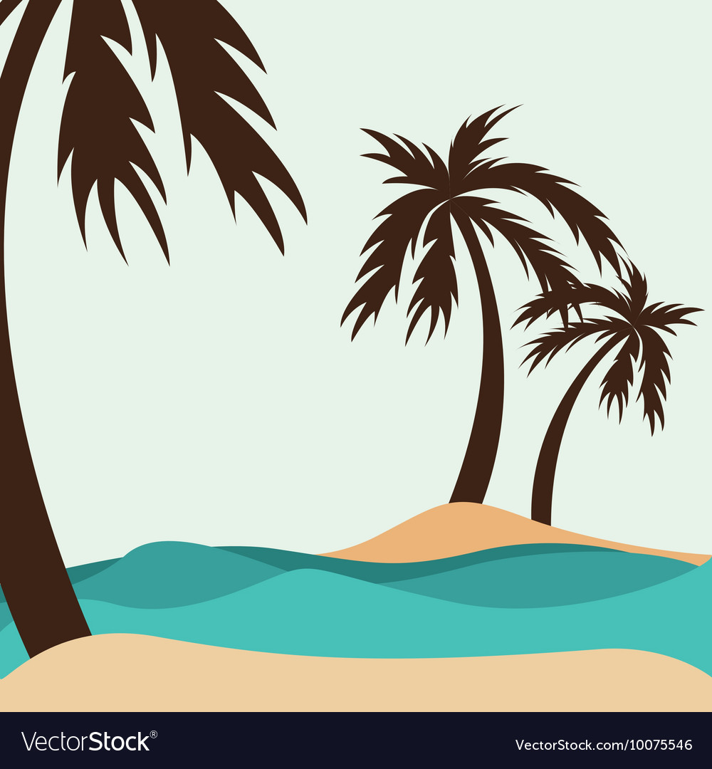 Tree palm silhouette icon